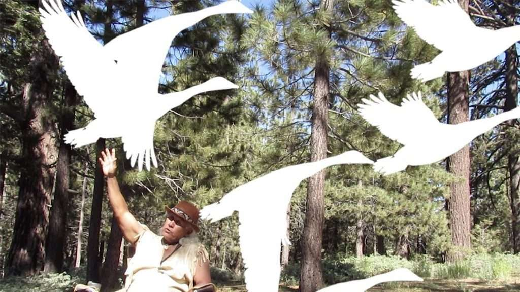 A Chumash and Tataviam man with medium brown skin and shoulder-length white hair, wearing an Indigenous-style bowler hat. He is sitting outside with his left arm stretched up toward animated white silhouettes of flying birds.
