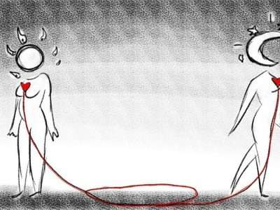 A black and white drawing of the Sun and Moon faced away from each other with human bodies and red hearts connected by a red thread that pools on the ground between them.